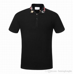 2019 Fashion Snake Pattern Hombres camiseta Solapa Manga corta Estilo europeo Casual Hombre Qucik Ropa seca desde fabricantes