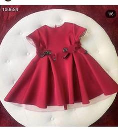 Argentina The F * Two Letter Print Bow Vestidos en color liso para niñas 3-12Y Vestidos de manga corta para niños Productos especiales Suministro