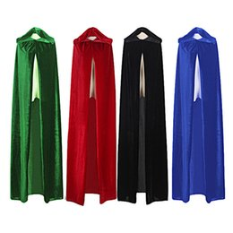 2019 traje de capa roxa Verde Witch longo adulto preto roxo azul vermelho Halloween Cloak capa e Cabo manto do Dia das Bruxas Cosplay traje de capa roxa barato