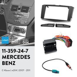 2019 tiras de acabamento em cromo interior UGAR 11-359 Kit de Fáscia / Quadro de Fáscia + Arnês ISO + Adaptador de Antena para Mercedes-Benz C-klasse (W204) 2007-2011