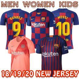 Детские бейсбольные рубашки онлайн-FCB Барселона Таиланд футболка высокого качества Bacelona MESSI SUAREZ PEK A INIESTA дома далеко третьи мужчины женщины ребенок футбол