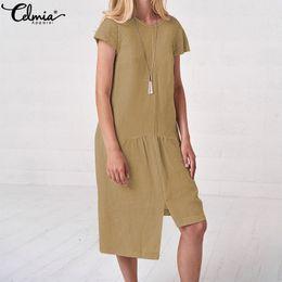 53f9722d6594 Celmia 2019 Summer Beach Abiti Donna Retro Lino Midi Abito manica corta  Solido Asimmetrico Camicia lunga Vestidos Plus Size vestiti di lino donne  economici