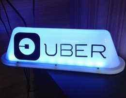 magnet blaues licht Rabatt 35CM 2019 UBER-Logo-Fahrerhaus-Zeichen-Auto-Spitzenlicht-Taxifahrer-Zeichen-starkes Magnet-Blau