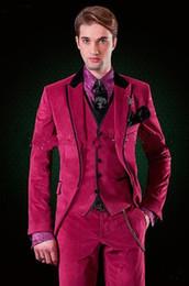 b25214391ba9b Nouveau Marque Nouveau Un Bouton Chaud Rose De Velours De Mariée Tuxedos  Peak Lapel Groomsmen Hommes Costumes De Bal Blazer (Veste + Pantalon +  Gilet + ...