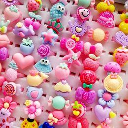 fleur givrée Promotion Nouveaux anneaux de dessin animé pour enfants 100Pcs / lot bijoux givré coeur forme animaux fleur bébé fille bague cadeau