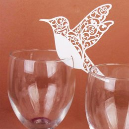 50pc white color for wedding glass cup decor Humming Birds Wedding Table Paper Place Card Escort Name Card Wine Glass от