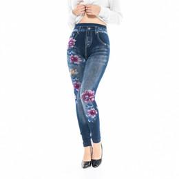 2e6708a2e2cd6 Faux Denim Jeans Leggings Plum Blossom Print Leggings Women Imitation Jean  Slim Fitness Elastic Seamless Leggins