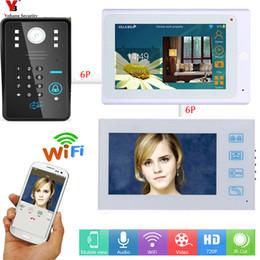 drahtloses türüberwachungssystem Rabatt Yobang Sicherheit Wifi 7-Zoll-Monitor APP Fernbedienung RFID Wireless Video-Türsprechanlage Türklingel-Kamera-System 1 Kamera 2 Monitor