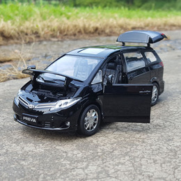 cars model lighting Promo Codes - 1:32 Scale Alloy Metal Diecast Car MPV Model For TOYOTA PREVIA (Estima,Tarago) Collection Vehicle Pull Back Sound&Light Toys Car