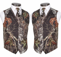 breast vest Promo Codes - 2019 Custom Made Modest Camo Groom Vests Rustic Wedding Vest Tree Trunk Leaves Spring Camouflage Slim Fit Men's Vests 2 Piece Set (Vest+Tie)