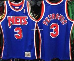 Misura di jersey di pallacanestro 4xl online-DRAZEN PETROVIC # 3 NEW JERSEY Blu Cucito di alta qualità Retro Vintage Top JERSEY Uomo Maglia taglia XS-6XL Maglia da basket cucita
