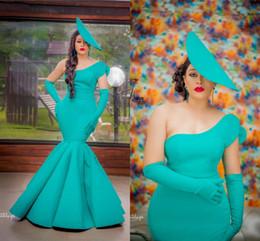 robes de bal turquoise filles noires Promotion Sexy Turquoise Une Epaule Sirène Robe De Bal Élégant Fourreau Africain Robes De Soirée Fille Noire Longue Robe Formelle Pageant Robe