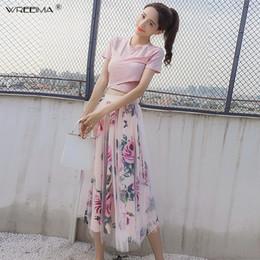 28e715594e Elegant Pink 2 Piece Set Women Sweet Cross Bowknot Irregular Crop Top T  Shirt + Mesh Floral Tulle Long Skirts Suits 2019 summer discount t shirt  short tulle ...