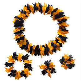 Cintas para el pelo hawaiano online-Hawaiian Luau Leis collar de flores artificiales pulsera diadema guirnalda para el verano tropical vacaciones en la playa tema fiesta de disfraces eventos