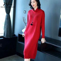 красивые длинные платья женщины Скидка Nice-forever причинно-следственной сплошной цвет с длинным рукавом прямой вязать vestidos деловой партии женщин офис зимний свитер платье TM029