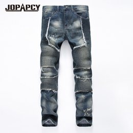 2019 jeans moderni per gli uomini Jeans Uomo 2017 Fashion Strappato Denim Pantaloni Hip Hop Rock Modern Slim Fit Jeans in cotone Homme Plus Size MYA0464 jeans moderni per gli uomini economici
