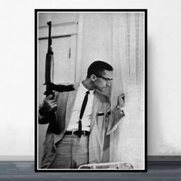 lienzo de pinturas abstractas simples Rebajas GX008 Hot Malcolm X With Gun Classic Movie Actor Poster Prints Art Silk Light Canvas Pintura de la pared Imagen para la habitación Decoración para el hogar