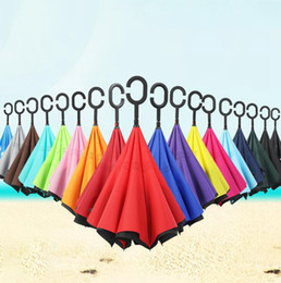 2020 paraguas plegable sólido Sólido invertido inversa Paraguas 16 colores de doble capa a prueba de viento plegable protección contra la lluvia C-Hook Manos paraguas OOA7622-2 paraguas plegable sólido baratos