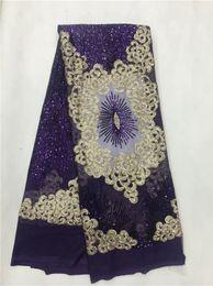 Argentina 2019 lentejuelas de tela de encaje africano de alta calidad azul marino bordado de flores nigerianas telas de encaje para el vestido de boda púrpura, oro supplier navy blue fabric flowers Suministro