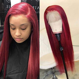2020 perucas dianteiras de renda de cabelo humano vermelho Cor vermelha Natural Olhando Dianteira Do Laço Perucas para As Mulheres Da Moda Em Linha Reta 180% Densidade Peruvain Remy Perucas de Cabelo Humano