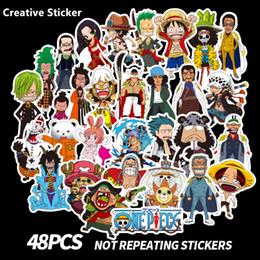 Wholesale 48 PC Los Anime One Piece Aufkleber Cartoon Für Auto Motorrad Skateboard Gepäck Notebook Laptop Blatt Aufkleber Aufkleber Spielzeug Kinder Geschenk