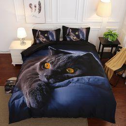 Lila bettwäsche setzt zwilling online-Luxus Romantische Rose Bettbezug Set HD Katze Leopardenmuster Bettwäsche-Sets 2 / 3pcs Bettwäsche Twin Queen King Size Lila Rose Bettwäsche-Sets
