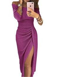 Повязка вечернее платье онлайн-Ladies Party Dresses Sparkling Split Design Slim Bandage Club Dress Sheath Slash Neck Bodycon Long Dresses Solid Color Evening Dresses