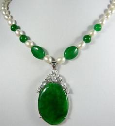 Grüne jade perlenkette online-phantasie design Schöne weiße perlengrün jade jade anhänger Halskette freies verschiffen