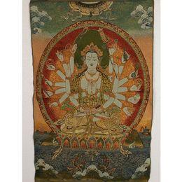 Tibet mano di seta da collezione dipinta Mille mani Kwan-yin Thangka RK052 + a da