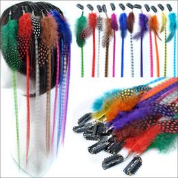 Extensiones de cabello largo colorido online-100pcs clip de moda para mujer en la extensión del pelo de la pluma colorida pieza del pelo 16 pulgadas 40 cm de largo recto envío gratis