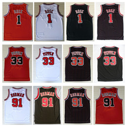 stickerei sport Rabatt Mens Mesh Billig Breathable Sports # 33 Scottie Pippen Jersey 1 # Derrick Rose 91 # Dennis Rodman Stickerei Naht Shirts Basketball Trikots
