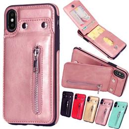 Capa de iphone rosa de ouro on-line-Rose gold leather case para iphone x xs zipper carteira capa para o iphone em 7 8 6 6 S Plus 5 5S SE Mulheres Saco Do Telefone Coque Fundas