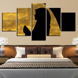 pintura de paisaje popular Rebajas Estilo moderno Marco Decorativo Popular HD Poster 5 Panel Chica Paisaje de Pared Modular Pictures For Living Room Pintura de la lona