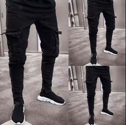 Тощие джинсы грузовые штаны мужчины онлайн-2019 Fashion Black Jean Men Denim Skinny Biker Jeans Destroyed Frayed Slim Fit Pocket Cargo Pencil Pants Plus Size S-3XL