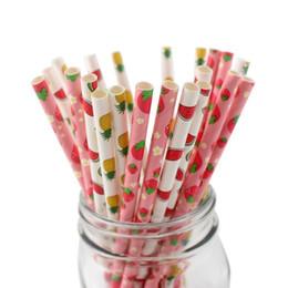 Papier en vrac en Ligne-500pcs pailles à boire de papier biodégradables jetables en vrac, pailles de papier de nid d'abeilles de style de fruit d'été pour la décoration de jus de mariage de jus