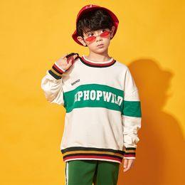 Hip-hop-tanzschule online-Vestido Hip Hop Jungen Kostüm Grün Anzug Langarm-Top + Pant Steet Tanz Kleidung Schule Gruppe Tanz Ropa Hip Hop Kids BL1954