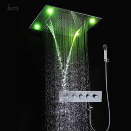 Canada En gros multi fonction salle de bains robinet avec douche cascade rideau pluie bain douche tête ensemble télécommande LED 161222 # 161225 cheap wholesale shower curtain sets Offre