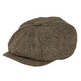 bdefaa12 BOTVELA Wool Tweed 8 piece Khaki Herringbone Newsboy Cap Men 8-Quarter  Panel Classic Driver Flat Caps Women Beret Cabbie Hat 005