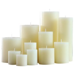 Pilastro d'avorio online-Classic Unscented Ivory Pilastro Candle Smokeless Wedding Party Candela di cera Perfect Home Decor Hotel Ristorante Centerpiece 11 dimensioni