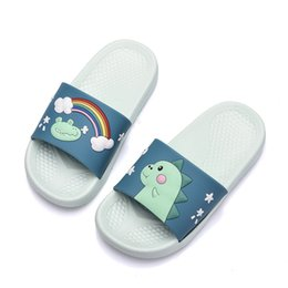 big animal slippers Coupons - Children Cartoon Slipper Summer Kids Mens Womens Slipper Beach Flip Flops PVC Anti Slip Cute Slippers Dinosaur Slippers Big Size 20-45