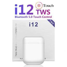 boîte d'oreille couleur iphone Promotion I12 TWS Bluetooth 5.0 casque avec micro-casque sans fil Bluetooth tactile de sept couleurs casque sans fil chaud vente earplug, le transport DHL