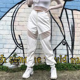 Pantaloni di jersey baggy online-Pantaloni casual da jogging in pelle con patchwork Autunno 2017 Pantaloni sportivi jersey con streetwear in pelle moda bianca Pantaloni a vita alta con zip a vita alta