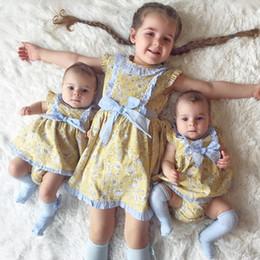 2019 crianças frescas 2019 crianças roupas pastoral estilo fresco amarelo floral bebê pequena manga voadora arco colete saia crianças frescas barato