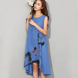 Vestidos estilo chinês para mulheres on-line-Elegant Women Vestidos Sexy Sleeveless Casual Loose Dress Party Tube Beach Style 2017 New Arrival Summer Chinese Printed Dresses