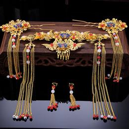 Joyería del pelo de la novia china online-2019 tocado de la boda de la novia nueva adornos de palo estilo chino Phoenix pelo de la corona borla de pelo de la novia de la joyería del pelo