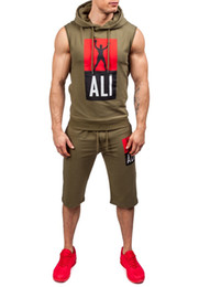 Männer ärmellose trainingsanzug online-Mode Männer Hoodie Set Sleeveless Hoodies Männer Trainingsanzug Hip Hop Hood Lässige Turnhalle Outdoor Sports Schwarz Grau Anzug