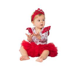 Red Snowflake Baby Girl vestiti di natale 0-24 mese neonato pagliaccetto abiti pagliaccetti manica lunga + 6 strati tutu gonna + fascia = 3 pezzi / set da vestiti da parrucchiere fornitori