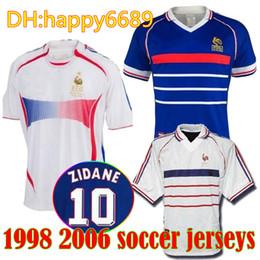 71a6e4bcf 1998 FRANCEs RETRO VINTAGE ZIDANE HENRY MAILLOT DE FOOT soccer jerseys  Mbappe GRIEZMANN Football shirt white away finals 2006 white