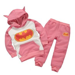 crystal hoodies Promo Codes - Free DHL Winter Fall Kids Boys Girls Pink Gray Batman Suits Long Sleeve Hoodies with Pants 2pieces Sets Children Clothing Outfits Sets 1-6T