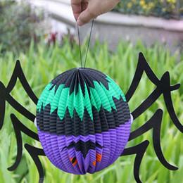 patio de papel Rebajas Divertida de Halloween que brilla araña Linterna de papel con la vela del LED Yard Decor